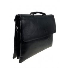 На фото 1 - Мужская сумка-портфель из фактурной искусственной кожи, цвет чёрный