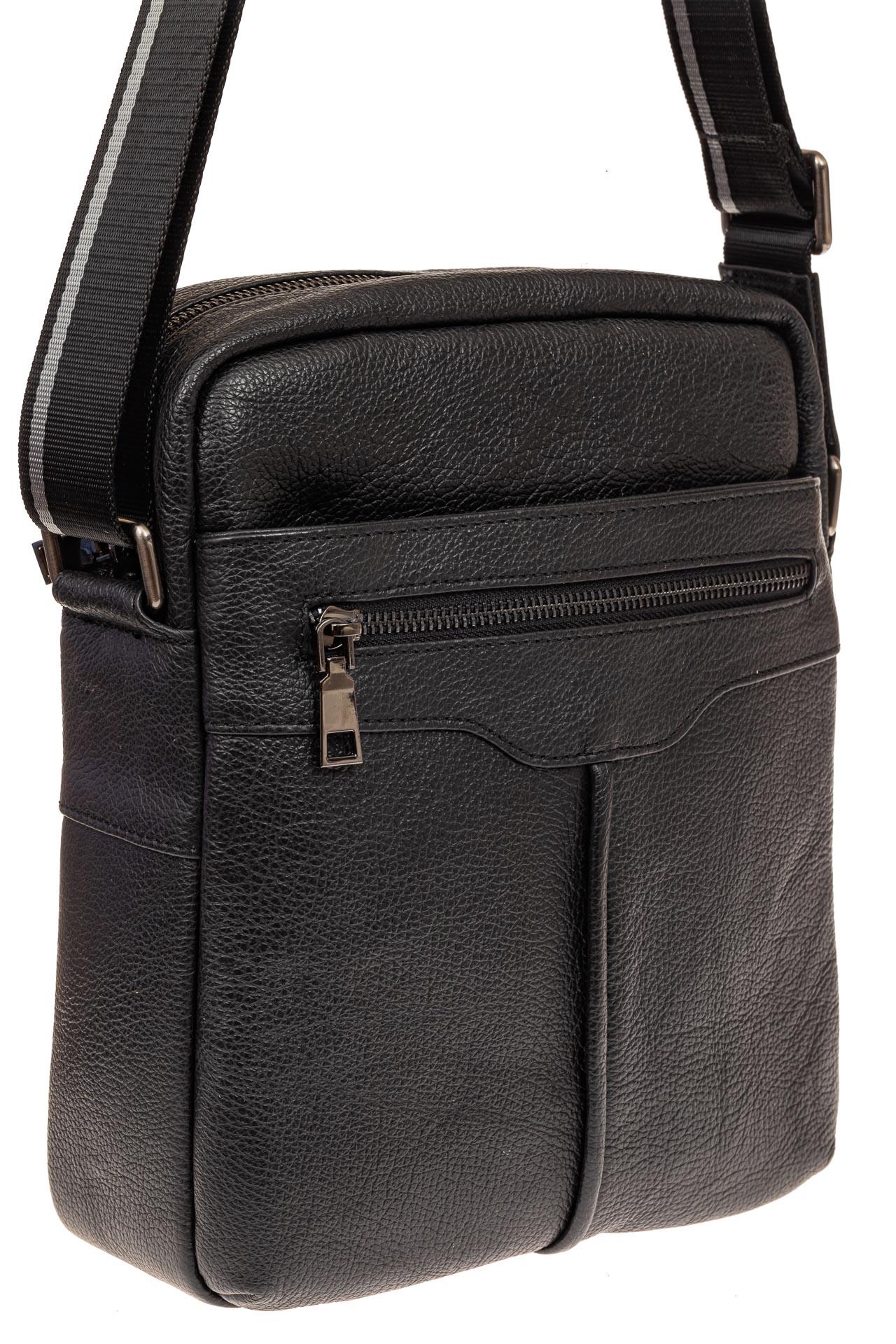 На фото 1 - Мужская кожаная сумка через плечо, цвет черный