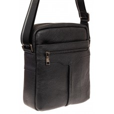 На фото 1 - Мужская кожаная сумка через плечо, цвет чер...