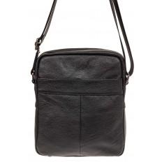 На фото 2 - Мужская кожаная сумка через плечо, цвет черный
