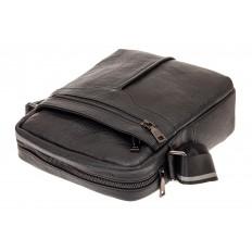 На фото 3 - Мужская кожаная сумка через плечо, цвет черный