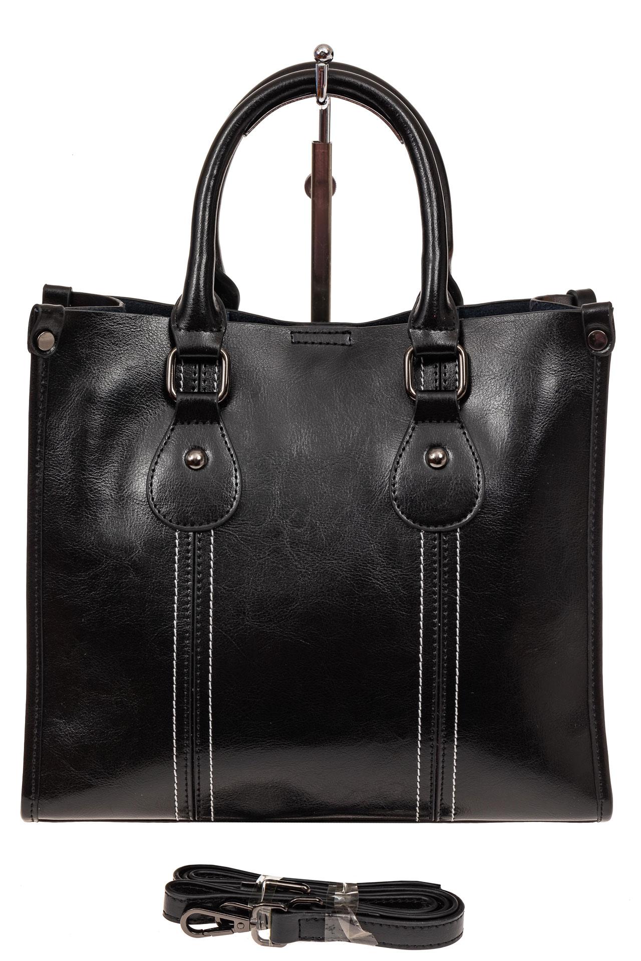 На фото 2 - Модный тоут из натуральной кожи, цвет черный