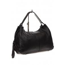 На фото 1 - Мягкая женская сумка из натуральной кожи, цвет черный
