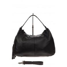 На фото 2 - Мягкая женская сумка из натуральной кожи, цвет черный