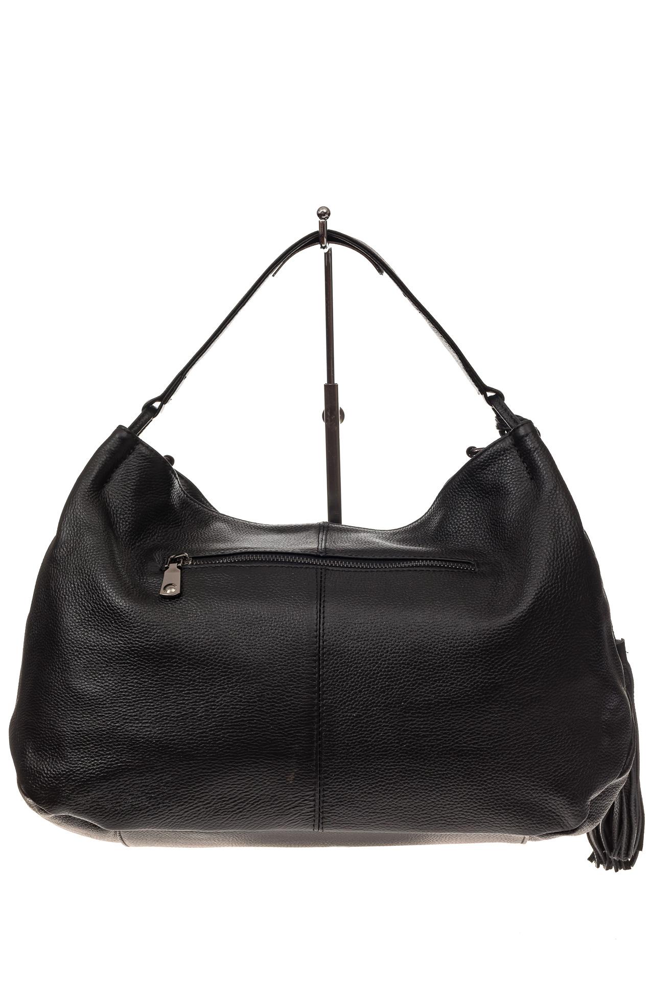 На фото 3 - Мягкая женская сумка из натуральной кожи, цвет черный