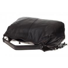 На фото 4 - Мягкая женская сумка из натуральной кожи, цвет черный