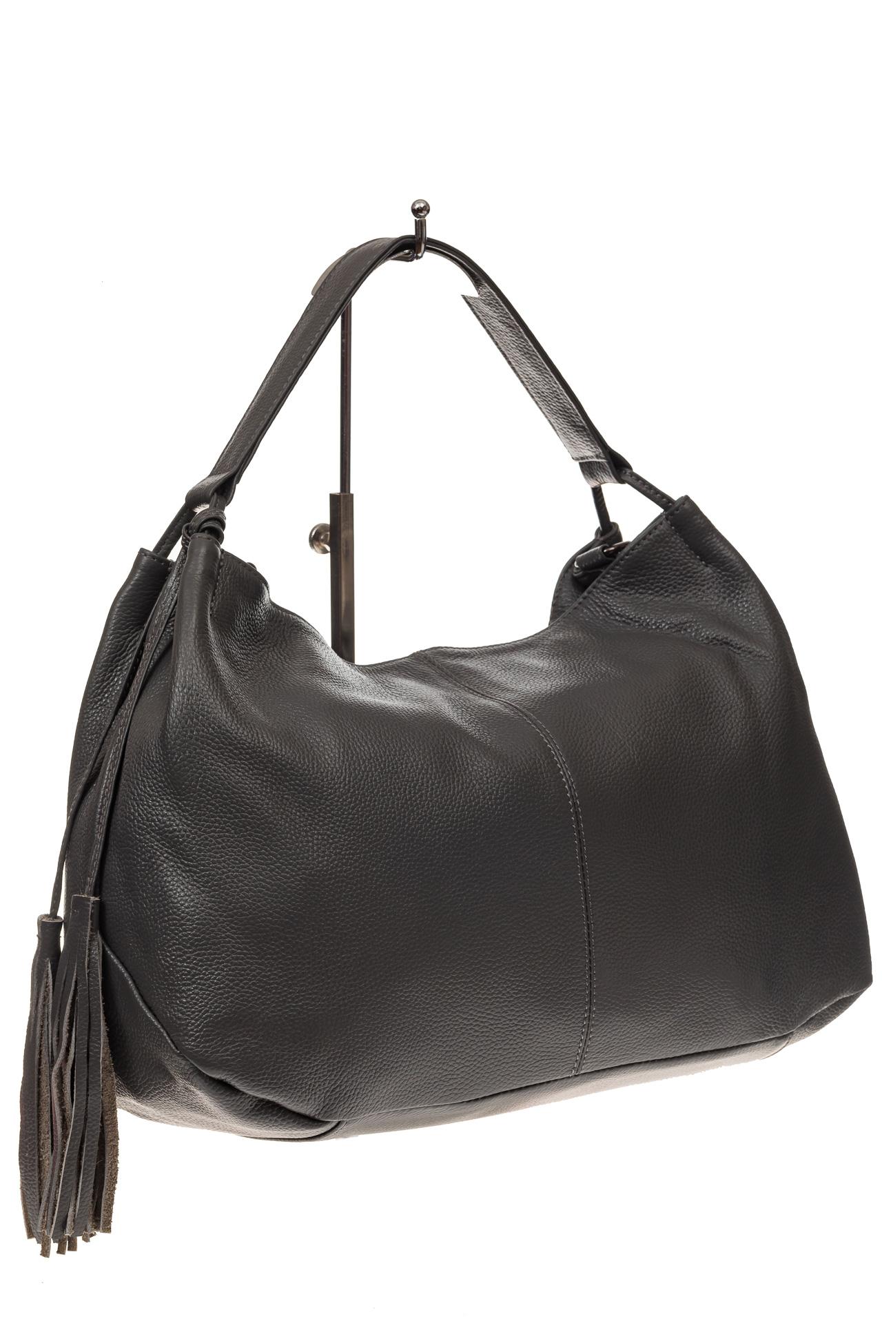 На фото 1 - Мягкая женская сумка из натуральной кожи, цвет серый
