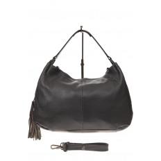 На фото 2 - Мягкая женская сумка из натуральной кожи, цвет серый