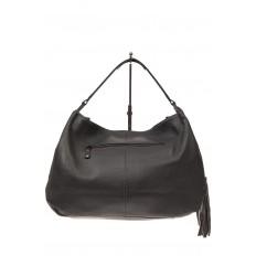 На фото 3 - Мягкая женская сумка из натуральной кожи, цвет серый