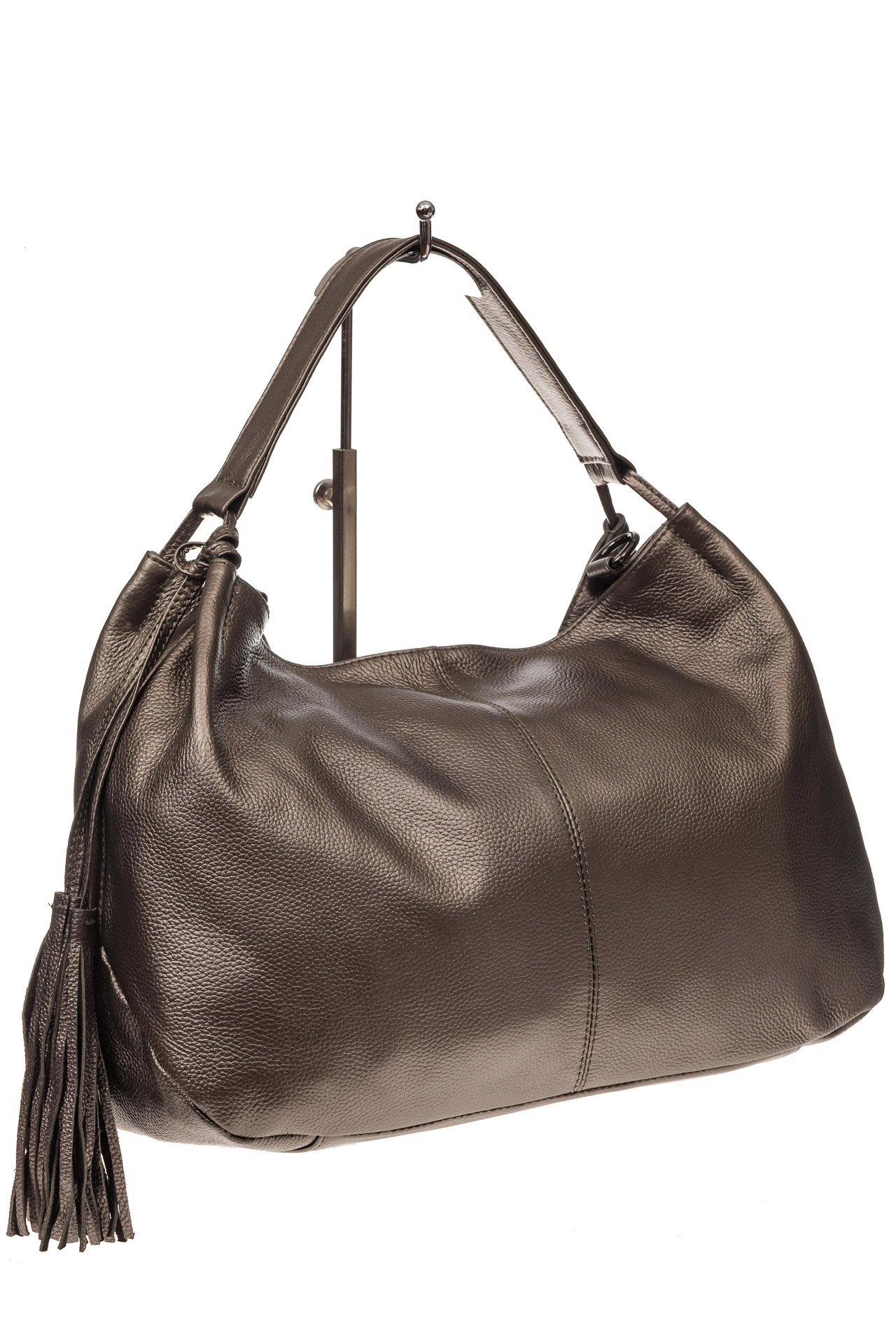 На фото 1 - Мягкая женская сумка из натуральной кожи, цвет бронза
