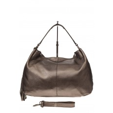 На фото 2 - Мягкая женская сумка из натуральной кожи, цвет бронза