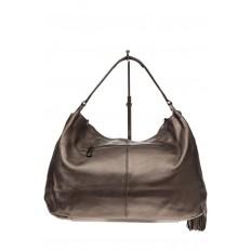 На фото 3 - Мягкая женская сумка из натуральной кожи, цвет бронза