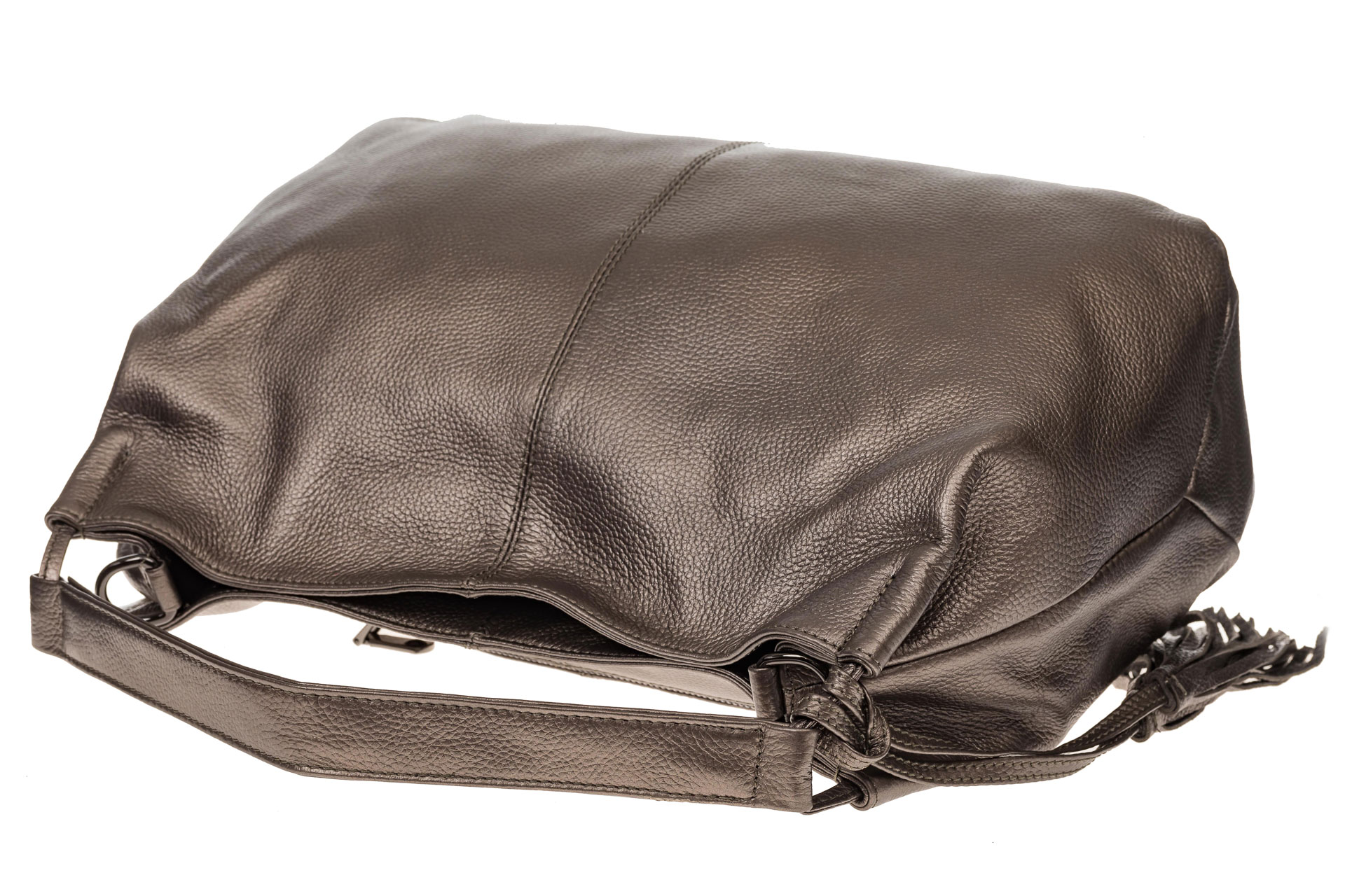 На фото 4 - Мягкая женская сумка из натуральной кожи, цвет бронза