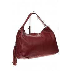 На фото 1 - Мягкая женская сумка из натуральной кожи, цвет красный