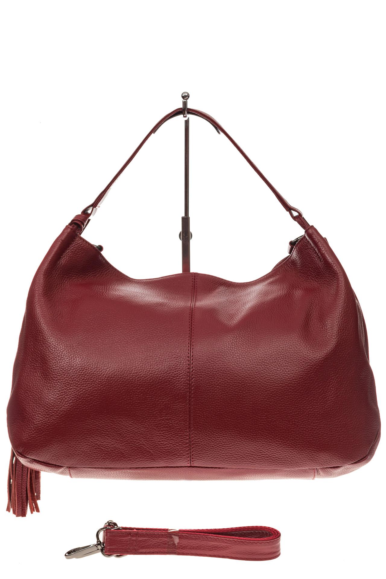На фото 2 - Мягкая женская сумка из натуральной кожи, цвет красный