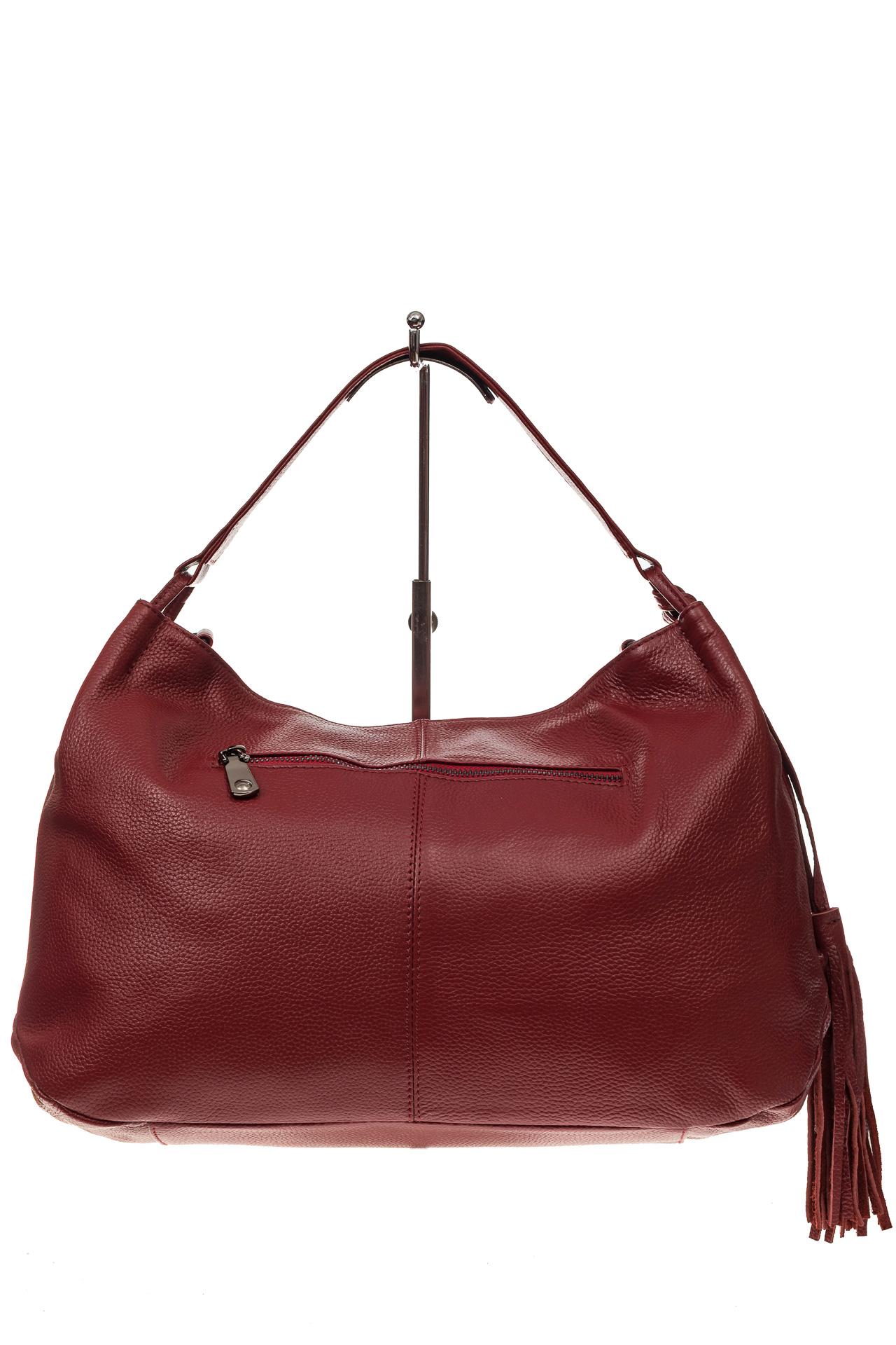На фото 3 - Мягкая женская сумка из натуральной кожи, цвет красный