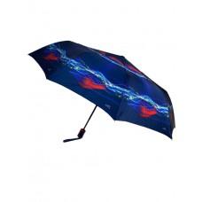 На фото 1 - Зонт-полуавтомат женский с принтом, цвет тёмно-синий