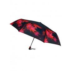 На фото 1 - Женский зонт-автомат с принтом в виде листьев, цвет тёмно-баклажановый