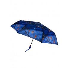 На фото 1 - Женский зонт-автомат с осенним принтом, цвет синий