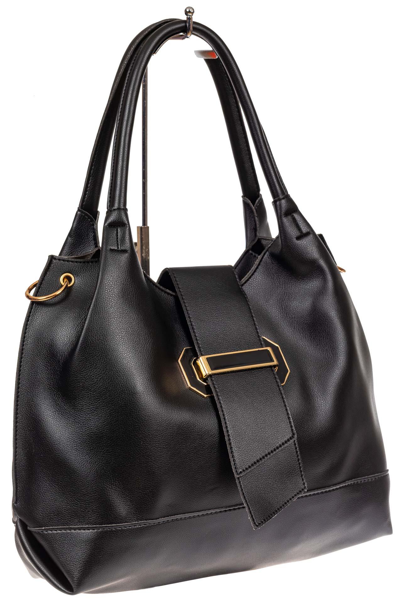 На фото 1 - Большая сумка шоппер из искусственной кожи, цвет черный