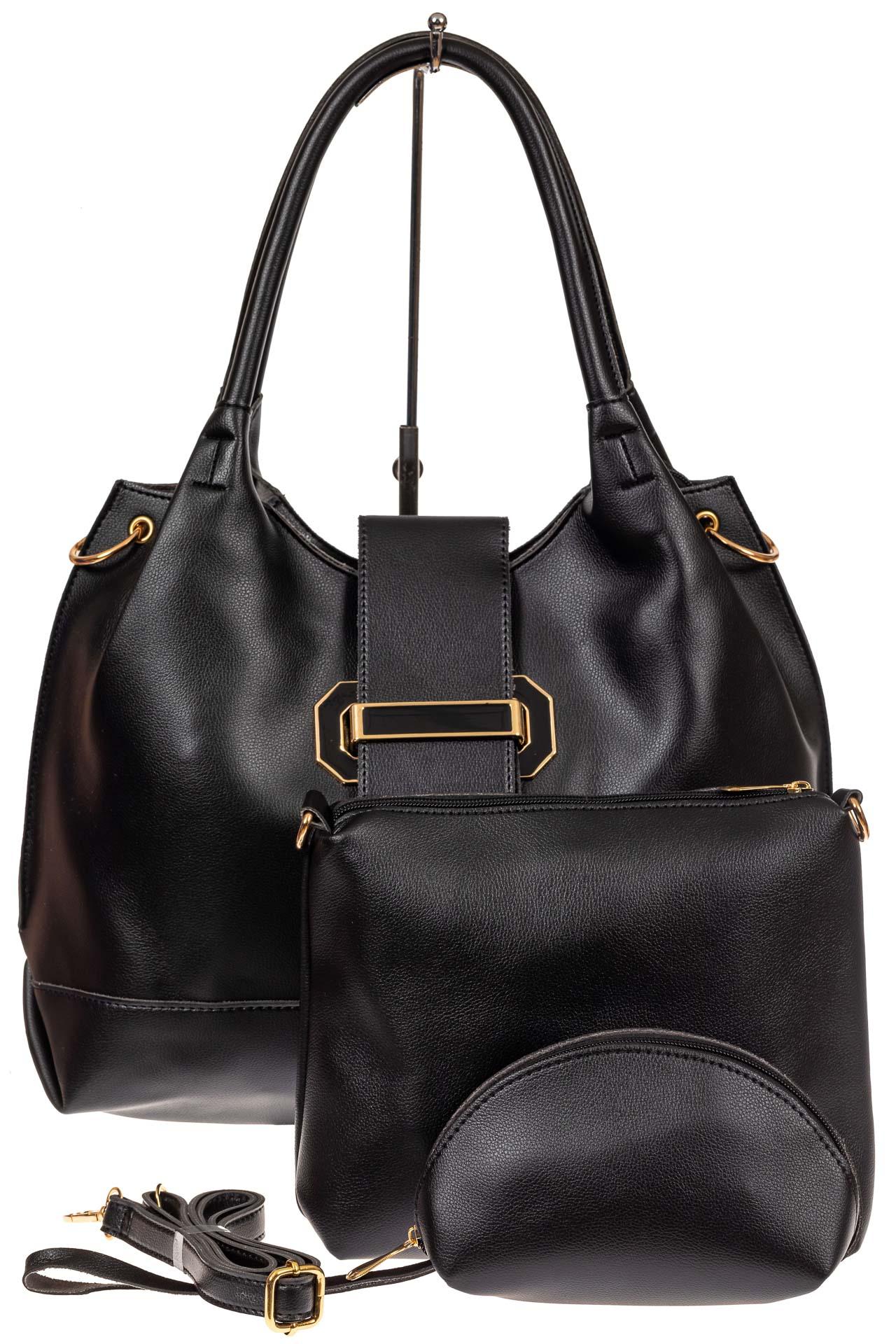 На фото 2 - Большая сумка шоппер из искусственной кожи, цвет черный