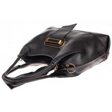 На фото 4 - Большая сумка шоппер из искусственной кожи, цвет черный