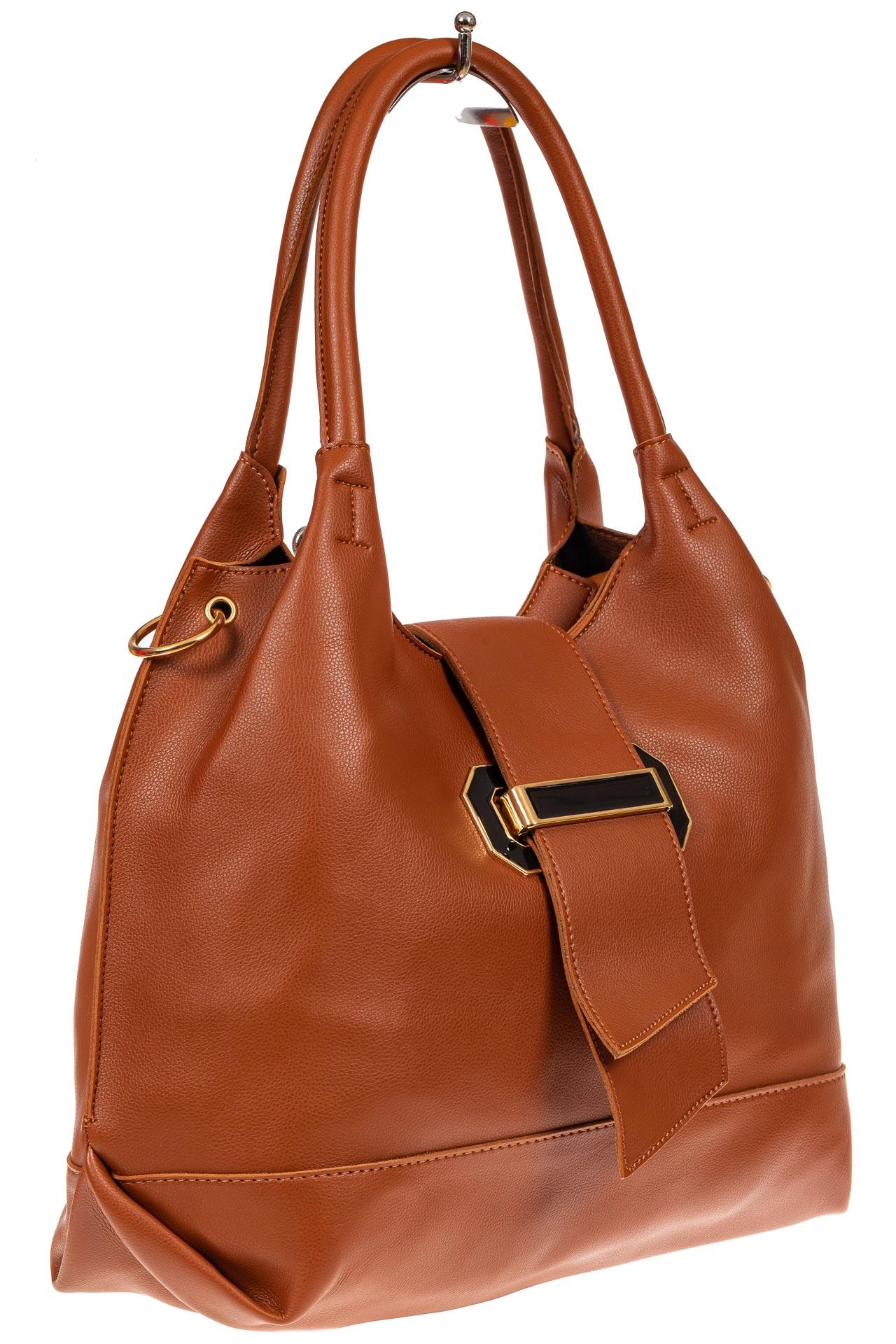 На фото 1 - Большая сумка шоппер из искусственной кожи, цвет рыже-коричневый