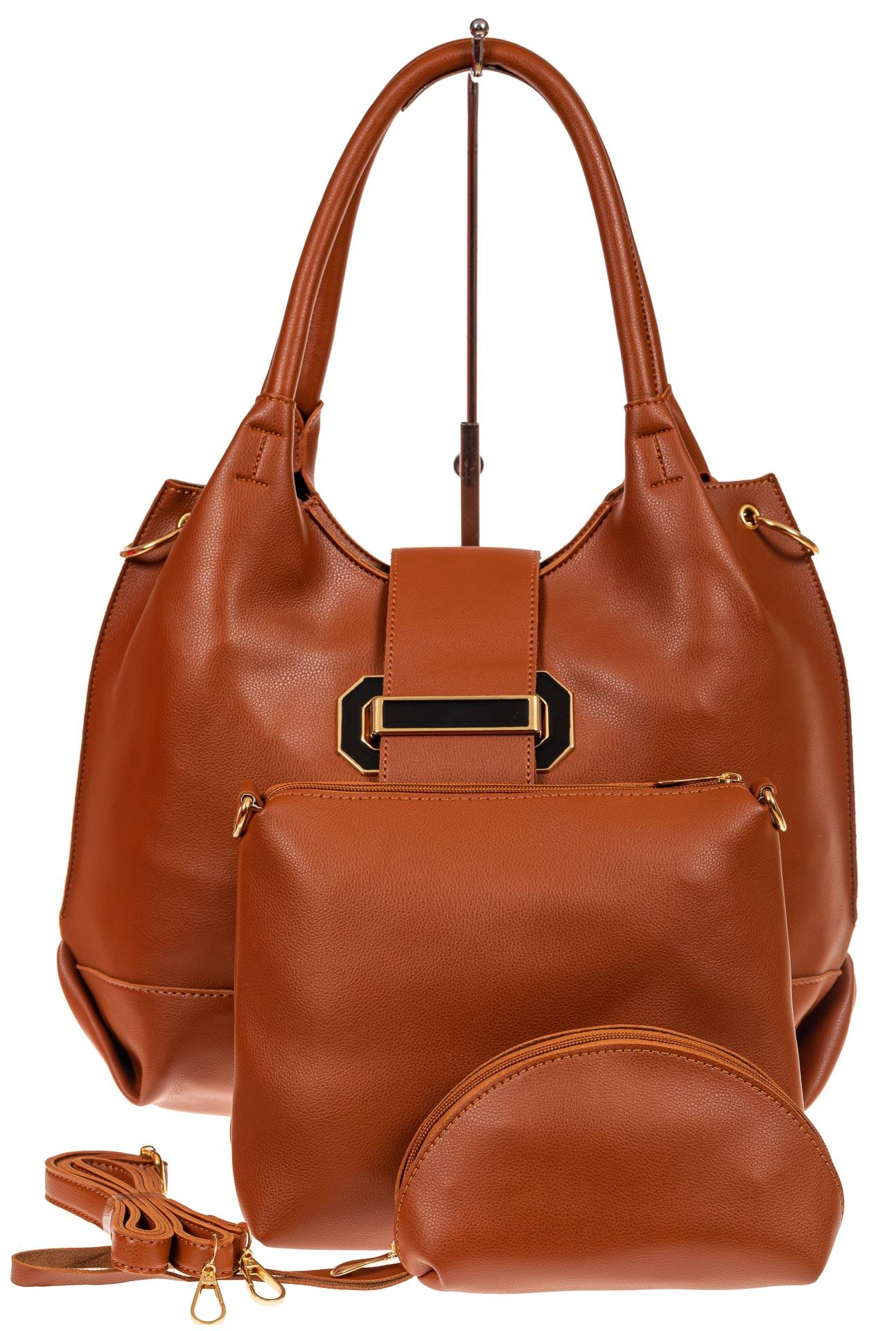 На фото 2 - Большая сумка шоппер из искусственной кожи, цвет рыже-коричневый