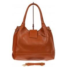 На фото 3 - Большая сумка шоппер из искусственной кожи, цвет рыже-коричневый