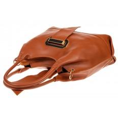 На фото 4 - Большая сумка шоппер из искусственной кожи, цвет рыже-коричневый