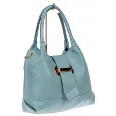 На фото 1 - Большая сумка шоппер из искусственной кожи, цвет голубой