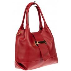 На фото 1 - Большая сумка шоппер из искусственной кожи, цвет красный