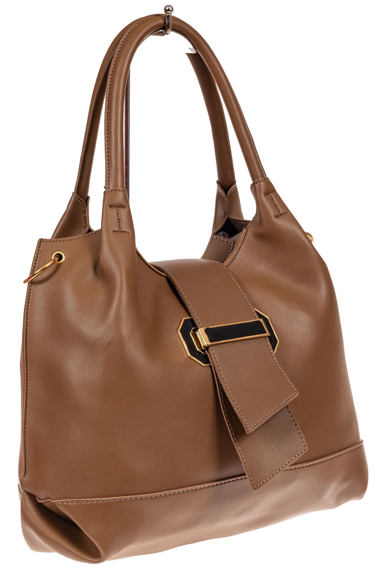 На фото 1 - Большая сумка шоппер из искусственной кожи, цвет коричневый