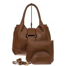 На фото 2 - Большая сумка шоппер из искусственной кожи, цвет коричневый