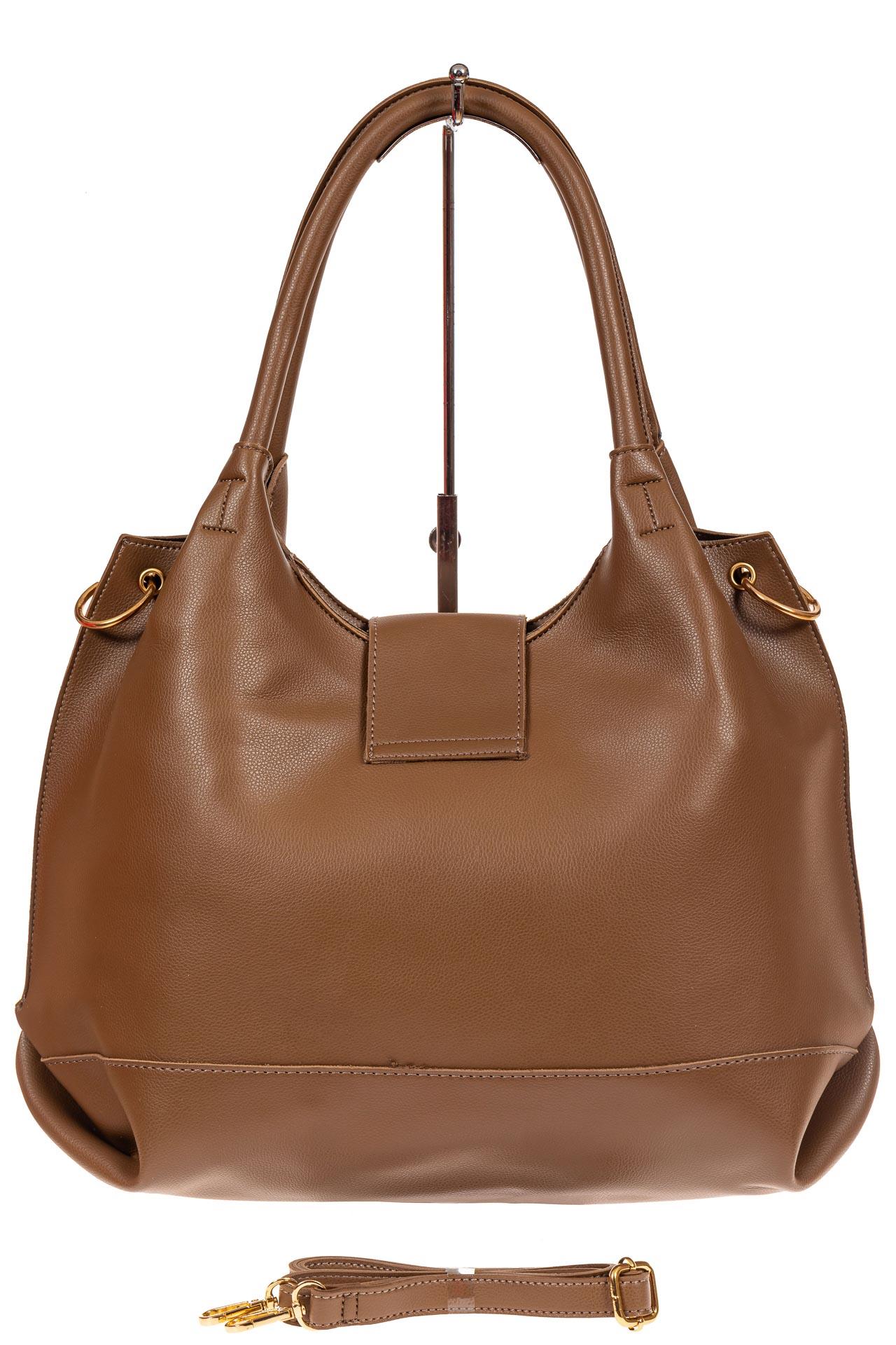 На фото 3 - Большая сумка шоппер из искусственной кожи, цвет коричневый