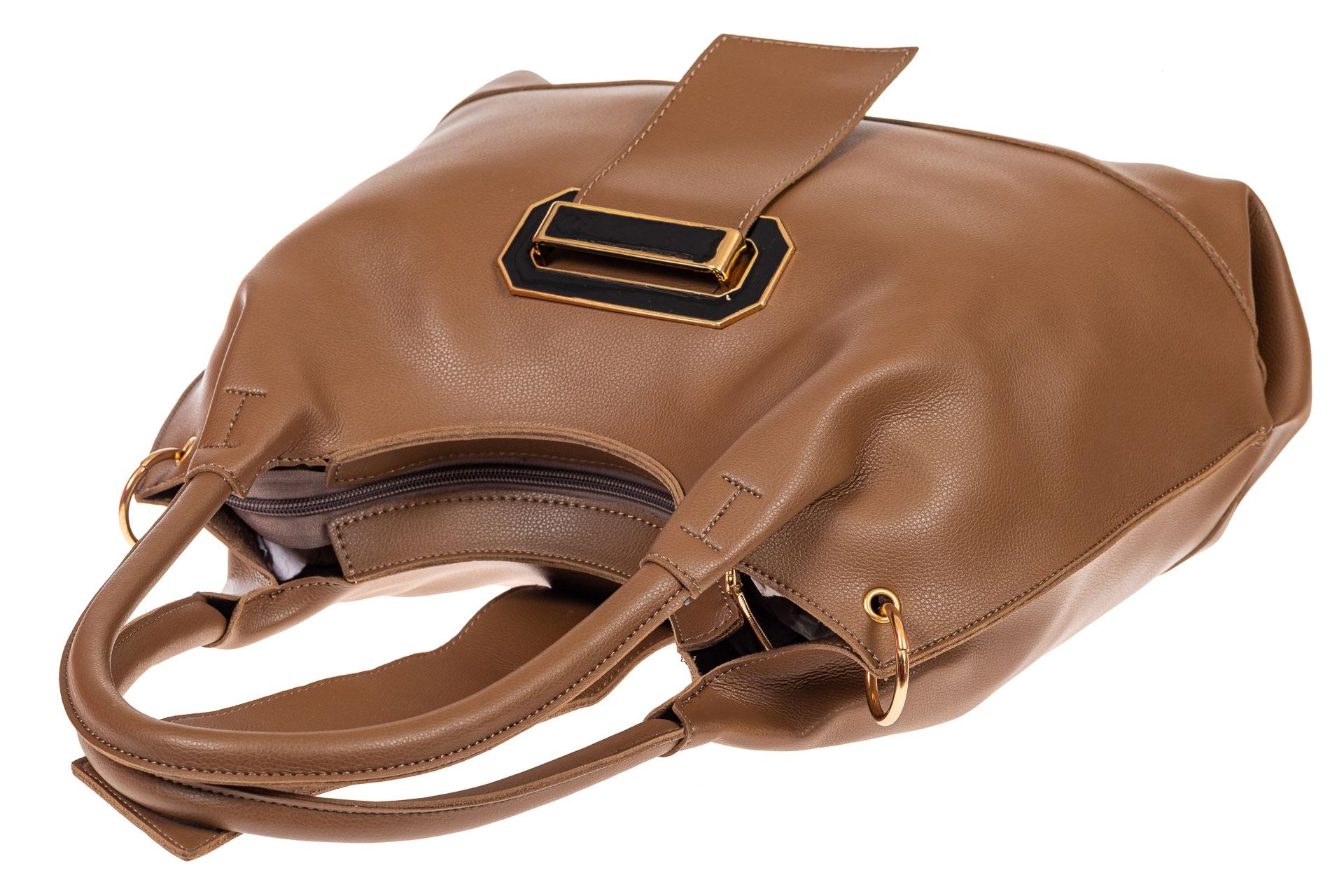 На фото 4 - Большая сумка шоппер из искусственной кожи, цвет коричневый