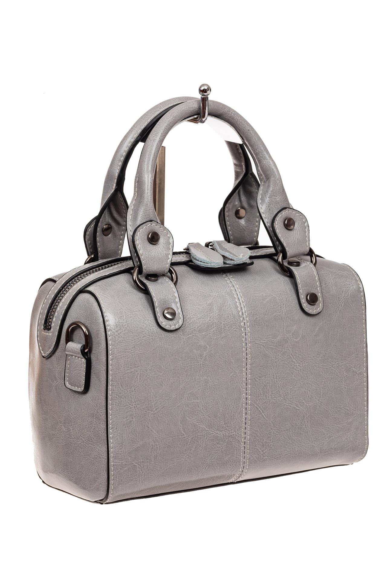 На фото 1 - Маленькая сумочка из натуральной кожи, цвет серый