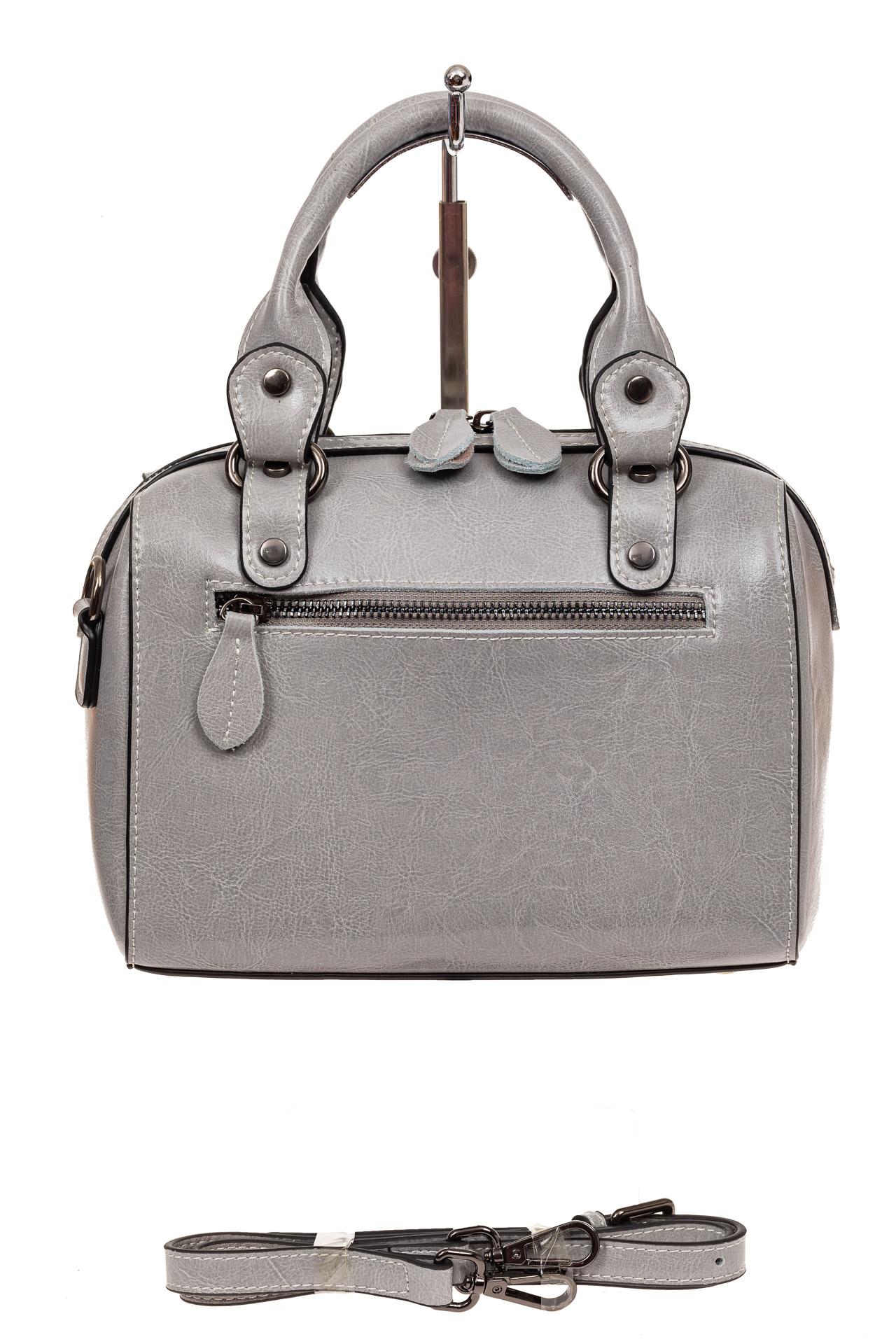 На фото 2 - Маленькая сумочка из натуральной кожи, цвет серый