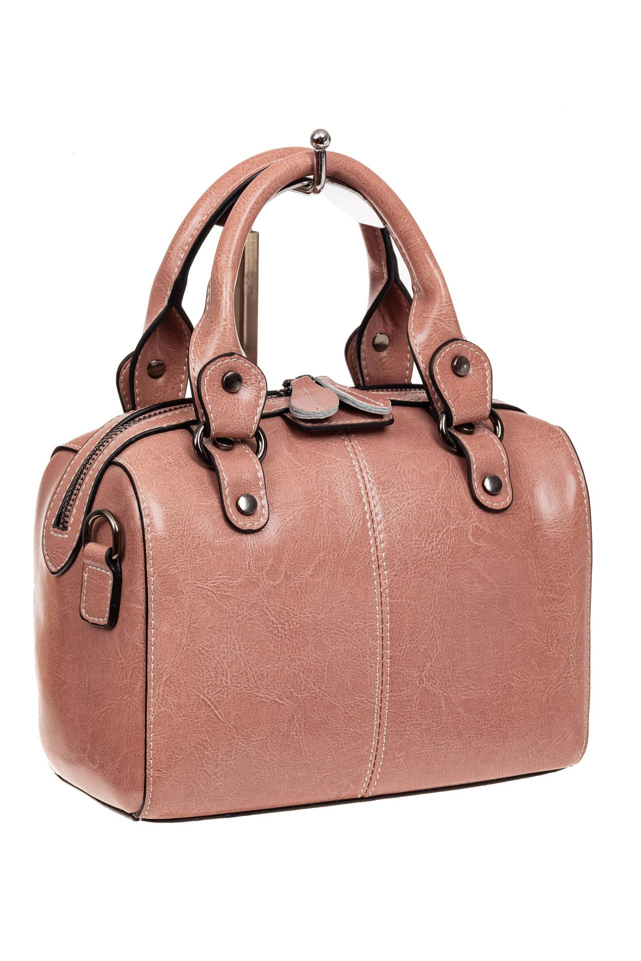 На фото 1 - Маленькая сумочка из натуральной кожи, цвет розовый
