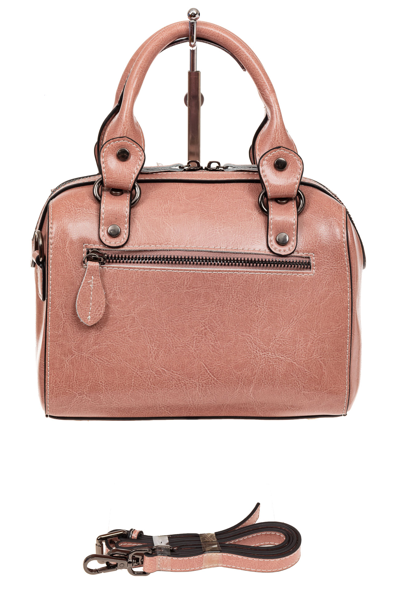 На фото 2 - Маленькая сумочка из натуральной кожи, цвет розовый