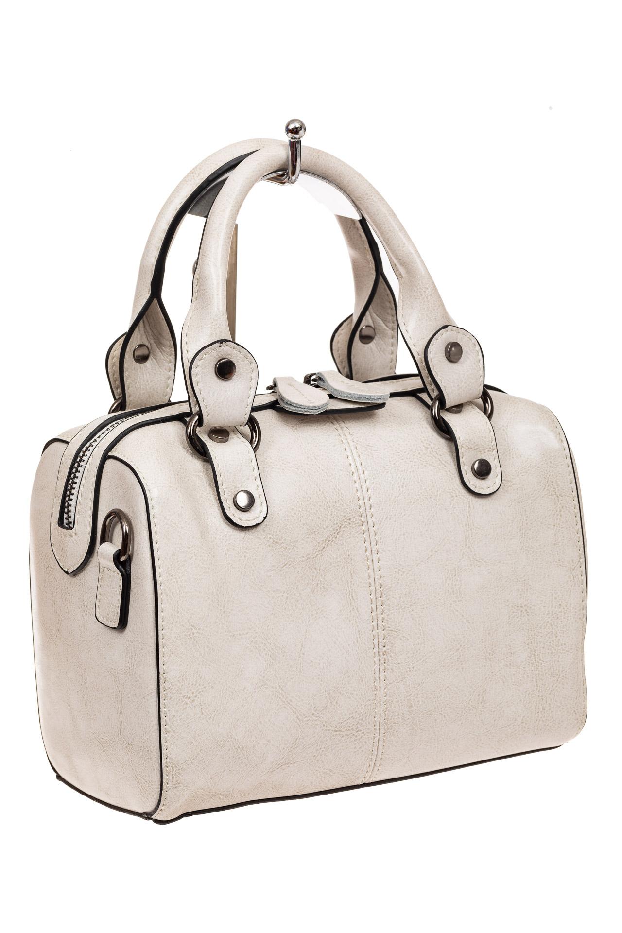 На фото 1 - Маленькая сумочка из натуральной кожи, цвет молочный
