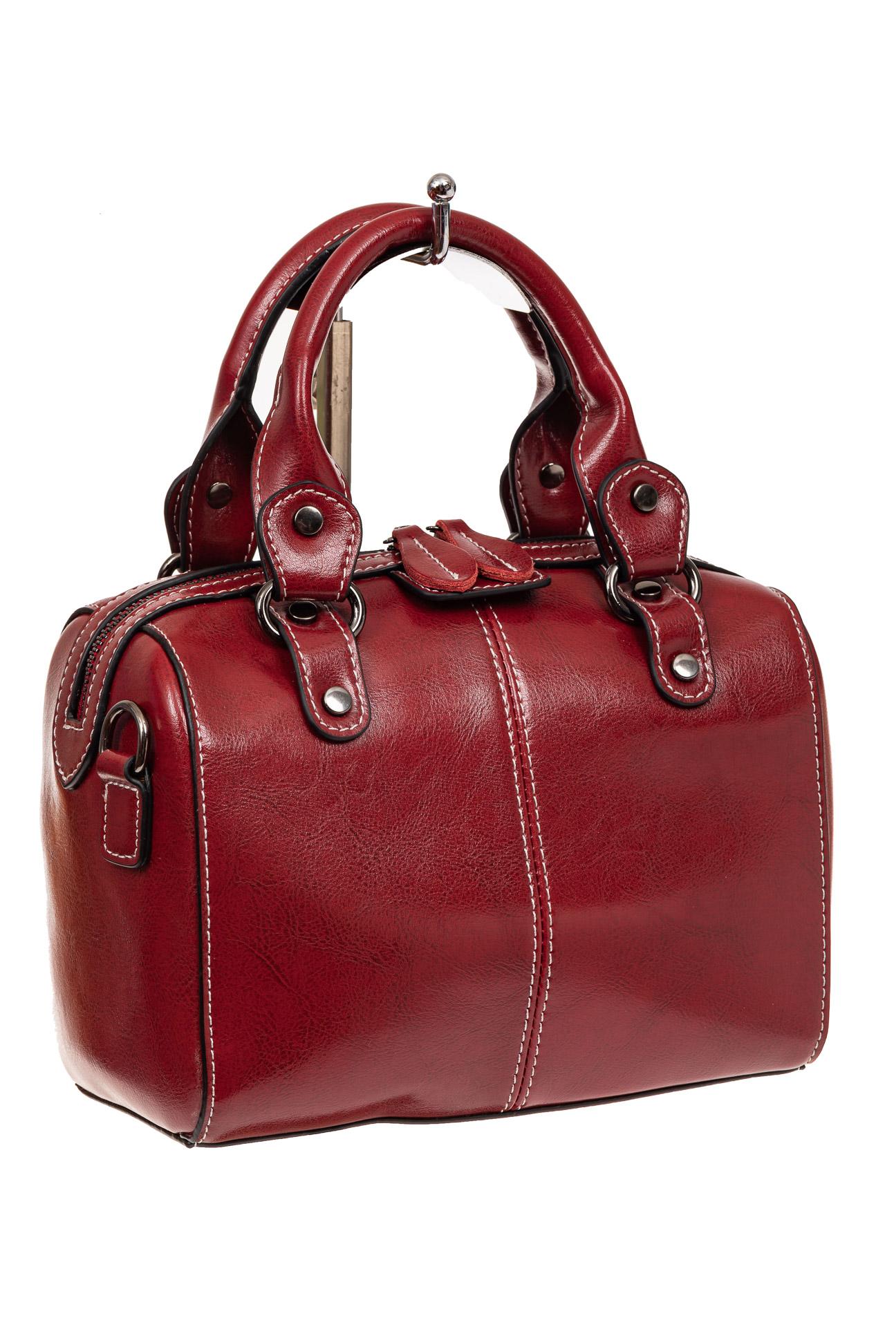 На фото 1 - Маленькая сумочка из натуральной кожи, цвет бордовый