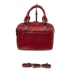 На фото 2 - Маленькая сумочка из натуральной кожи, цвет бордовый