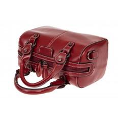 На фото 3 - Маленькая сумочка из натуральной кожи, цвет бордовый