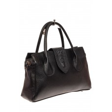 На фото 1 - Женская сумка с гортом из крокодила, цвет ч...