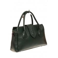 На фото 1 - Женская сумка с гортом из крокодила, цвет з...