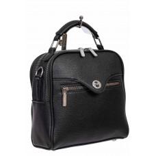 На фото 1 - Рюкзак-трансформер женский из экокожи, цвет чёрный