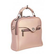 На фото 1 - Рюкзак-трансформер женский из экокожи, цвет розовый