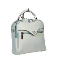 На фото 1 - Рюкзак-трансформер женский из экокожи, цвет бледно-бирюзовый