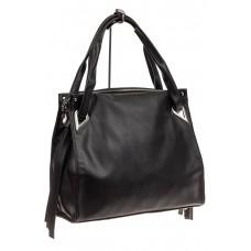 На фото 1 - Большая женская сумка из кожзама, цвет черный